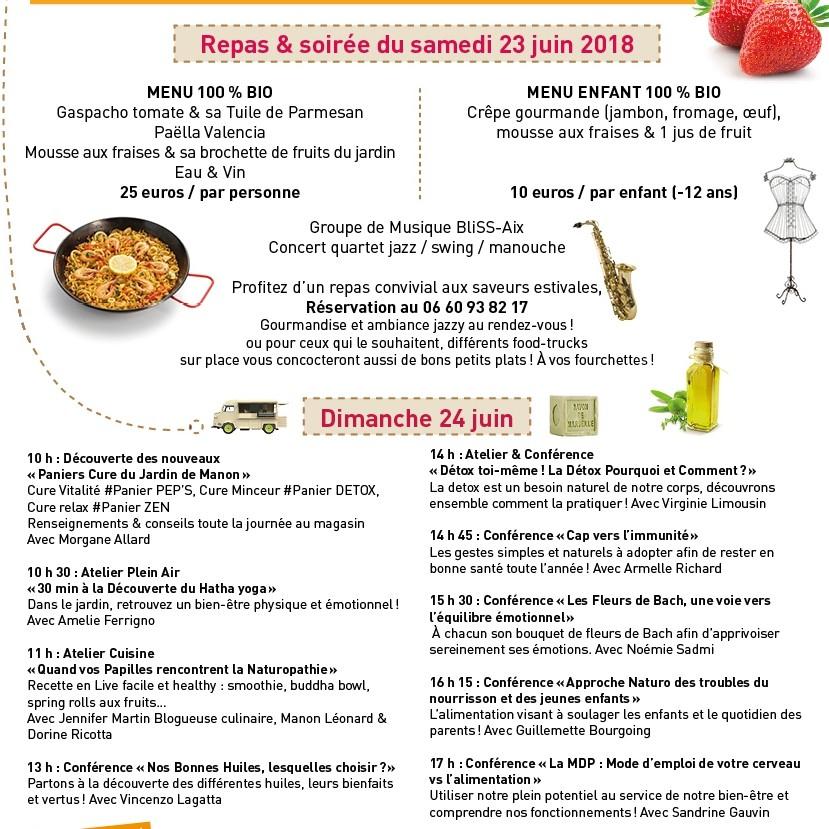 Voilà le Programme du salon de Manon le 23 & 24 juin 2018